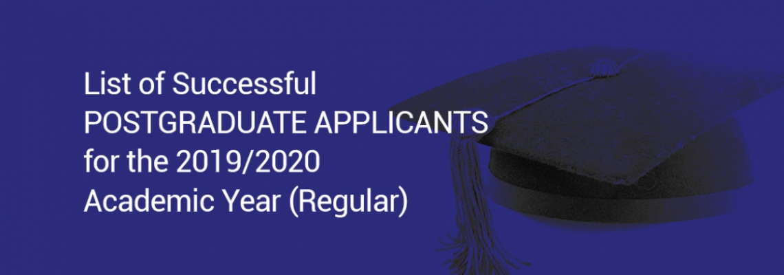 List of Successful Postgraduate Applicants for the 2019/2020